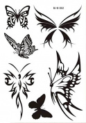 Body Art Temporary Removable Tattoo Stickers Colour In Black Butterfly BJB002 Sticker Tattoo - FashionLife