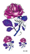 Body Art Temporary Removable Tattoo Stickers Pink Rose RC305 Sticker Tattoo - FashionLife