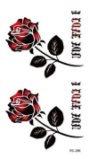 Body Art Temporary Removable Tattoo Stickers Red Rose RC296 Sticker Tattoo - FashionLife