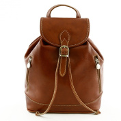 Woman Leather Backpack Cognac - Genuine Leather Bags Made In Italy - Backpack
