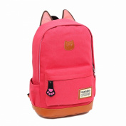 TOOGOO(R) Fashion super sweet cat ear design middle school style ladies lady girls backpack for school camping trip laptop multifunction bag of canvas Watermelon red