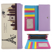 ZXK PU Leather Eiffel Tower Purple Trim Lady Girls Wallet Purse With Zippered Card Slots Holder Snap Closure Pouch Hand Bag-Credit Cards, Money and Phone(less than 14cm )All in One Wallet