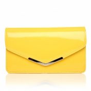 LUCKY Yellow Patent Medium Size Clutch Bag