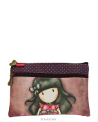 Gorjuss Ladybird Flat Two Zip Pencil Case 2x Zipped Compartments Makeup Bag 23x15cms Santoro
