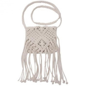 Hengsong White Knit Shoulder Bag Women Crossbody-Bag Bohemian Tassel Bags