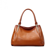 Meijia Women's Soft Leather Retro Casual Top Handle Bag Zip Top Shoulder Handbag