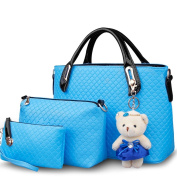 FAIRYSAN Diamond-shaped Casual Large Leather Square Handbag with a Little Bear Doll water blue mixed colours