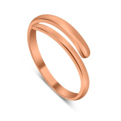 18ct Rose Gold Dipped Sterling Silver Plain Adjustable 2mm Band Midi Toe Ring