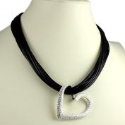 Silver heart dangling pendant black leather choker necklace fashion jewellery