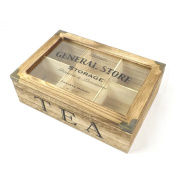 General Store Vintage Rustic Tea Bag Box Caddy Storage Chest Shabby Chic