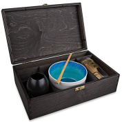 MAOCI matcha gift set in a black wooden box