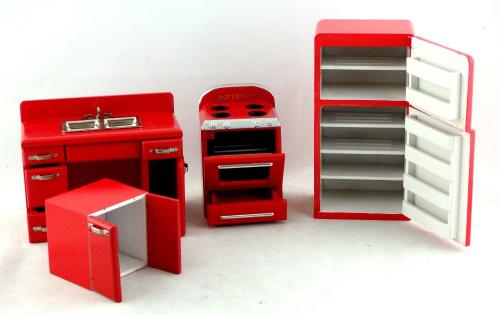 kitchen furniture retro 1950 39 s red fridge sink cooker set best price