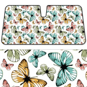 BDK Butterfly SunShade - Folding Accordion - Colourful Butterflies Surreal Stencil - 150cm x 70cm
