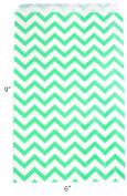 Novel Box Teal Chevron Print Paper Gift Merchandising Bag Bundle 15cm X 23cm (100 Count) + Custom NB Pouch