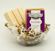Handmade Herbal 100% Raw Goat Milk Lavender Soap (Gift Set 1) w/ Handcrafted wooden pine soap saver dish.