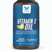 Vitamin E Oil, 100% Natural - 10,000 IU, 30ml - Skin Nourishment and Rejuvenation - Reduce Scars, Stretch Marks and Wrinkles, and Improve Cuticles and Hair - Unique Rapid Absorption and Proven Results