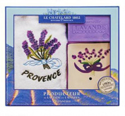 Savon de Marseille Bath Soap Bar, Ceramic Dish and Provence Tea Towel Gift Set