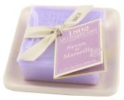 Savon de Marseille 100g Bath Soap Bar with Ceramic Dish - Lavender