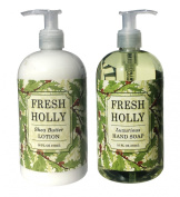 Fresh Holly Shea Butter Hand & Body Lotion and Fresh Holly Hand Soap Duo Set 470ml each by Greenwich Bay Trading Co.