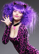 Womens Deluxe Purple Cheshire Cat Style Wig