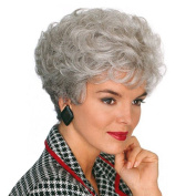 Hmy Short Curly Side Bang Stylish Synthetic Silvery White Capless Wig for Elderly Women