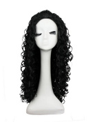 Hmy New Black Long Afro Curly Heat Resistant Fibre Women's Synthetic Hair Wig