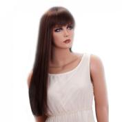 straight long dark brown fancy women wigs