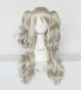 springcos Charlotte Wig Cospaly Tomori Nao Ponytails Wigs with Bang Grey White