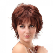 short dark brown red charming women mother wigs
