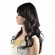 Sexy Long Light Natural Black Wig Big Waves Wig Side Swept Fringe Bang Women Hair Wigs B
