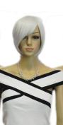 Winson Smoke Grey White Bob Elegant Full Synthetic Short Cosplay Party wig