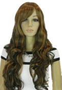 Winson Brown Black Curly Long Wavy Natural Full Synthetic Wig For Woman Gift
