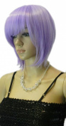 Winson Elegant Lady's Short Medium Length Straight Purple Lavender Full Bang wig