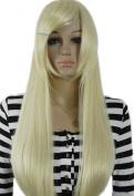 Winson Elegant Sweet Blonde White Ramp Bangs Straight Women Lady Cosplay wig