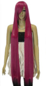 Winson Extra Long Women's Straight Rose Red Heat Resistant Curled Fancy wig