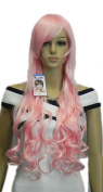 Winson Fashion Long Light Pink Wavy Straight Women's Cosplay costume wig