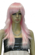 Winson Fashion Long Pink Ramp Bang Fringe Full Synthetic Healthy Wig Woman