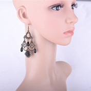 Lvxuan Handmade Gothic Black Queen Drop Floral Lace Crown Dangle Earrings Hook Bridal Gothic Lolita Bronze Alloy Retro Vintage Black Pearl Jewellery Drop Earrings