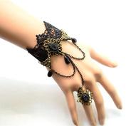 Lvxuan Hot Fashion Gothic Vintage Black Openwork Lace Women Black Pearl Pendant Jewellery Tassel Ring Bracelet Set