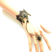 Lvxuan Hot Fashion Gothic Vintage Black Openwork Lace Women Black Pearl Pendant Jewellery Ring Bracelet Set