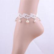 Lvxuan Gothic Vintage Multilayer Tassel White Lace Pearl Pendant Lolita Women Anklet