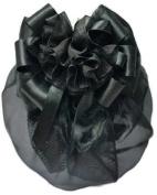 Women Black Flower Bow Hair French Clip Snood Net Bun Cover Barrette