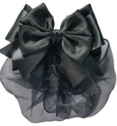 Women Black Bow Hair French Clip Snood Net Bun Cover Barrette