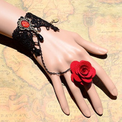 Lvxuan Original Gothic Vintage Palace Red Rose Accessories Black Water Drop Jewellery Ring Bracelet Set for Women