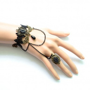 Lvxuan Handmade Pearl Stone Drop Layered Chain Tassel Floral Black Lace Adjustable Ring Bracelet SET Slave Gothic Lolita Ball Party Retro Women Ornaments