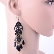 Lvxuan Handmade Gothic Black Bead Drop Floral Lace Crown Dangle Earrings Hook Bridal Gothic Lolita Bronze Alloy Retro Vintage Black Pearl Jewellery Drop Earrings