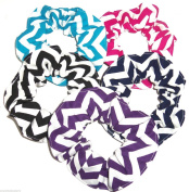 Chevron Fabric Hair Scrunchies Set of 5 Ponytail Holders Turquoise Black Pink Purple Navy Blue White made by Scrunchies by Sherry