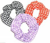 Houndstooth Print Fabric Hair Scrunchies Set of 3 Ponytail Holders Black Orange Purple made by Scrunchies by Sherry