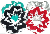 Chevron Fabric Hair Scrunchies Set of 4 Ponytail Holders Aqua Red Black Grey White made by Scrunchies by Sherry