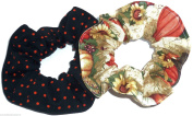 Halloween Pumpkins Fall Harvest Orange Black Polka Dots Fabric Hair Scrunchie Handmade by Scrunchies by Sherry Set of 2